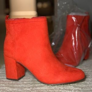 Red Suede Bootie